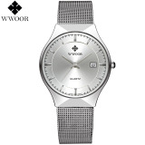 Who Sells Wwoor Uxury Men S Quartz Watch Fashion Casual Watches Ultra Thin Stainless Steel Mesh Band Wristwatch Silver Intl