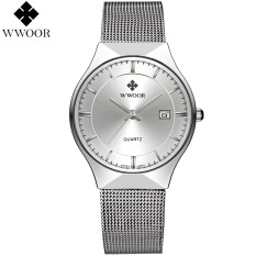 Wwoor Uxury Men S Quartz Watch Fashion Casual Watches Ultra Thin Stainless Steel Mesh Band Wristwatch Silver Intl Compare Prices