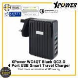 Sale Xpower Wc4Qt Qualcomm Quick Charge 2 4 Port Smart Travel Charger With Assorted International Plug Included Uk Etc Black Online Singapore