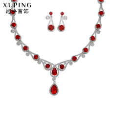 Low Cost Xuping Jewelry Korean Style White Gold Dress Bridal Gemstone Necklace