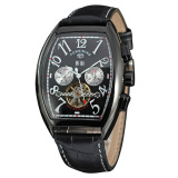 Price Yika Men S Automatic Mechanical Self Winding Date Leather Wrist Watch Black Yika Online