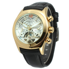 Yika Men S Leather Mechanical Sport Army Wrist Watch White Gold Online
