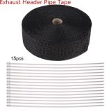 Yosoo 49Ft Black Heat Insulation Exhaust Pipe Wrap Tape Cloth For Car Motorcycle Intl In Stock