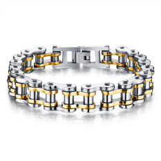 Zuncle Men Titanium Steel Individuality Motorcycle Chain Bracelet Gold Coupon Code