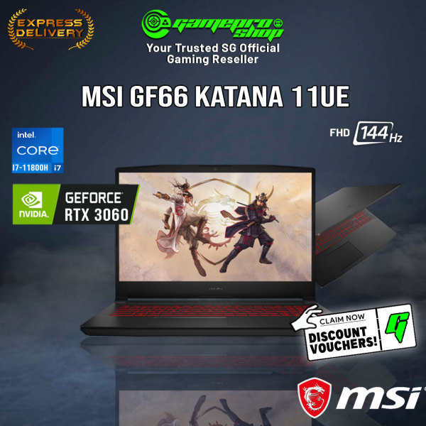 [Express Delivery] NEW 11th MSI GF66 11UE-252SG Gaming Laptop (i7-11800H/16GB/RTX 3060/15.6 FHD 144hz/W10/2Y)