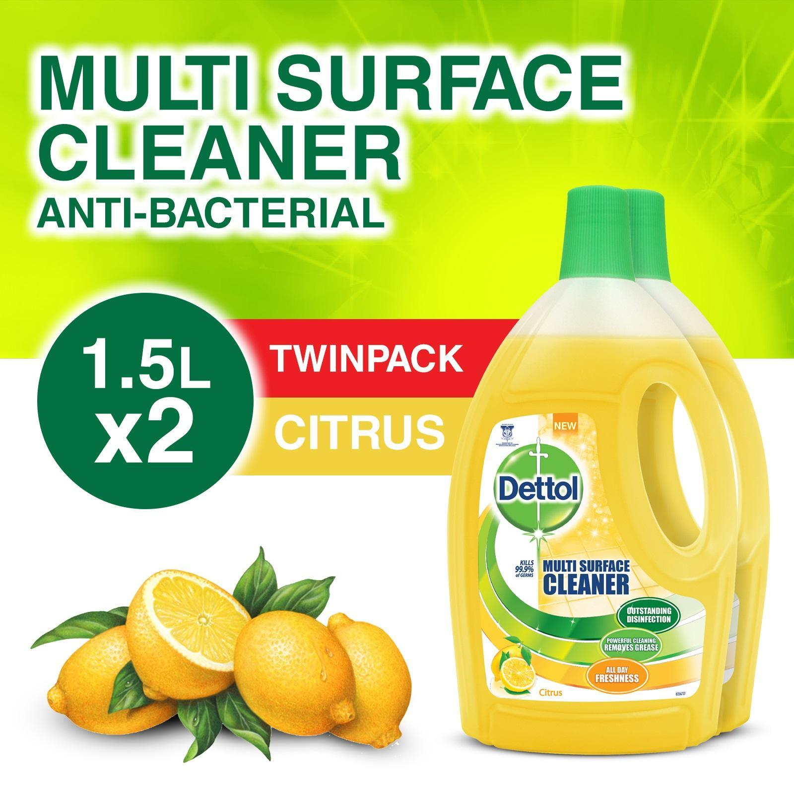 Dettol 4-in-1 Disinfectant Multi Surface Cleaner Citrus 2x 1.5L