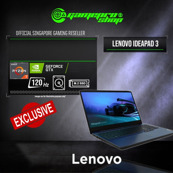 [Express Delivery] (EXCLUSIVE) Lenovo IdeaPad Gaming 3  15ARH05H I Gaming Laptop (Ryzen 7 4800H/8GB/GTX 1650 4GB GDDR6/512GB SSD/15.6 120hz/W10)- 82EY007KSB -(3Y)