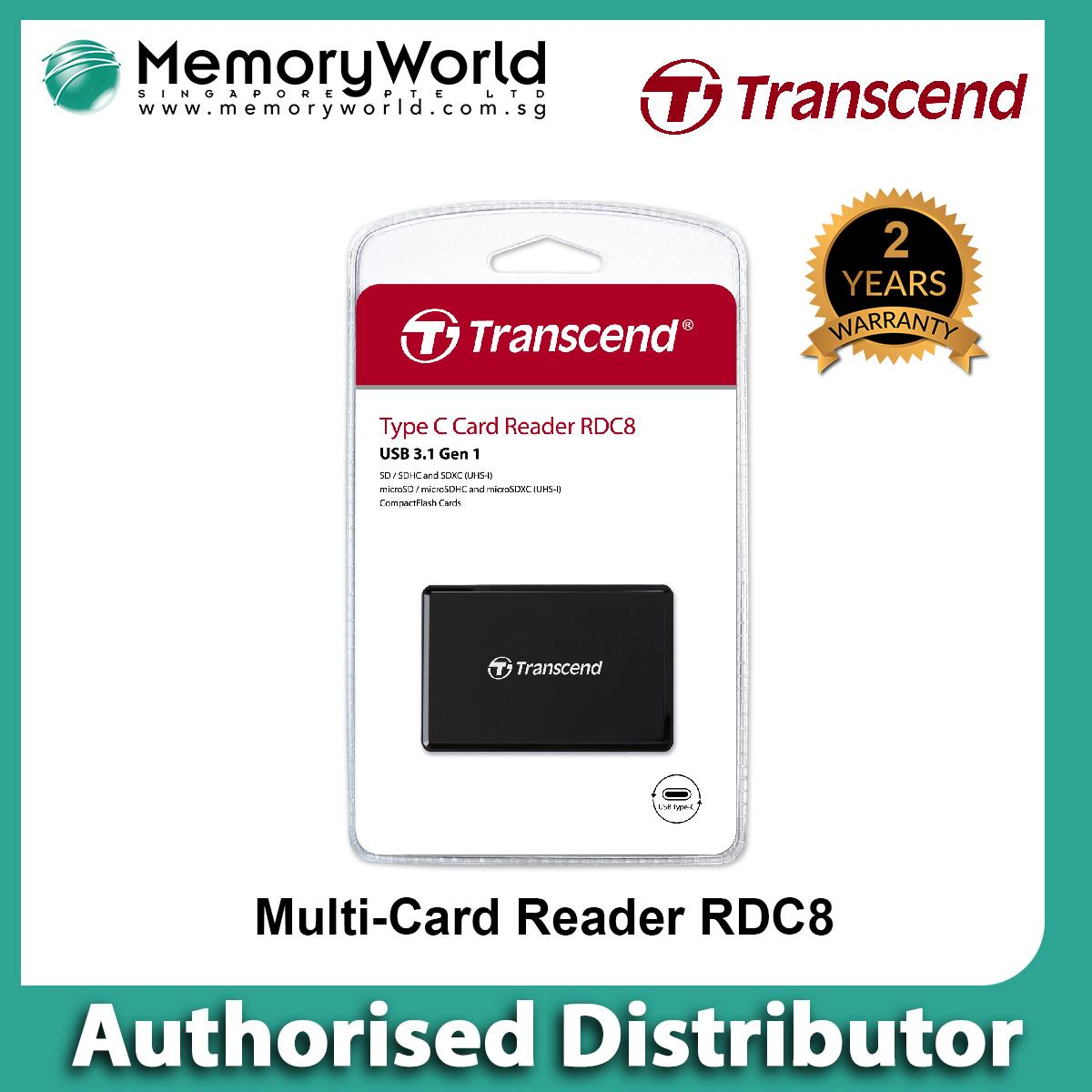 Transcend USB 3.1 Multi Card Reader (Black) - Type C . Warranty: 2 years. Local Singapore Warranty. **TRANSCEND Authorised Distributor **