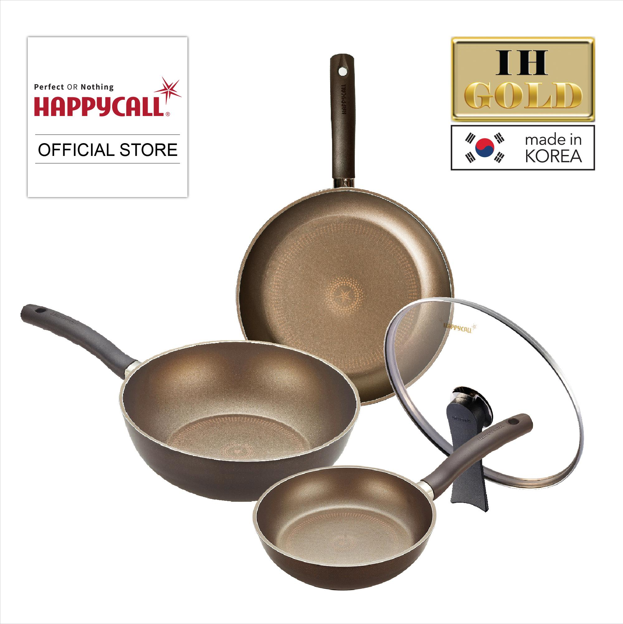 Happycall Ih Gold 4pc Cookware Set (3900-0174) - Free Pearl Life Arrange Free Double Deck Kitchen Rack (h-5799) By Heap Seng Group.