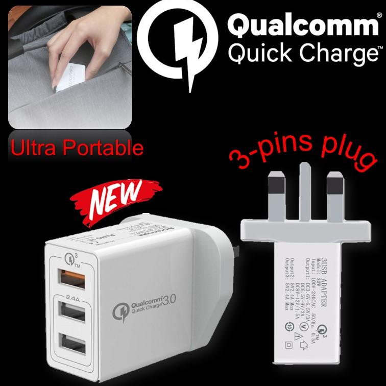 Multi Usb Charger Qualcomm Wall Charger Quick Charge Port 3.0 Ultra Fast Charge 3 Ports Uk 3 Pin Travel Adaptor High Quality By Yumyuumm.