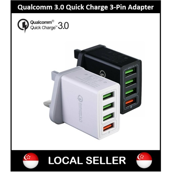 【LOCAL SELLER】 Quick Charge 3.0 Qualcomm 4 USB Port Charger UK Plug Fast Charging Power Adapter Fast Charge Adapter