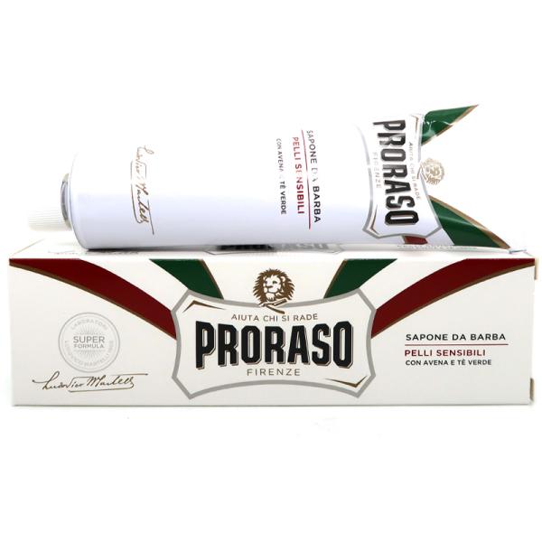 Buy Proraso White Shaving Cream in a Tube 150ml - For Sensitive Skin (Green Tea & Oat)-SGPOMADES Singapore