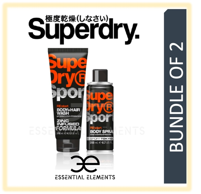 Buy SUPERDRY [BUNDLE OF 2] RE:start MEN BODY & HAIR WASH 250ML + BODY SPRAY 200ML | SPORT ORIGINAL GROOMING ATHLETIC BATH SHOWER DEODORANT SHAMPOO Singapore