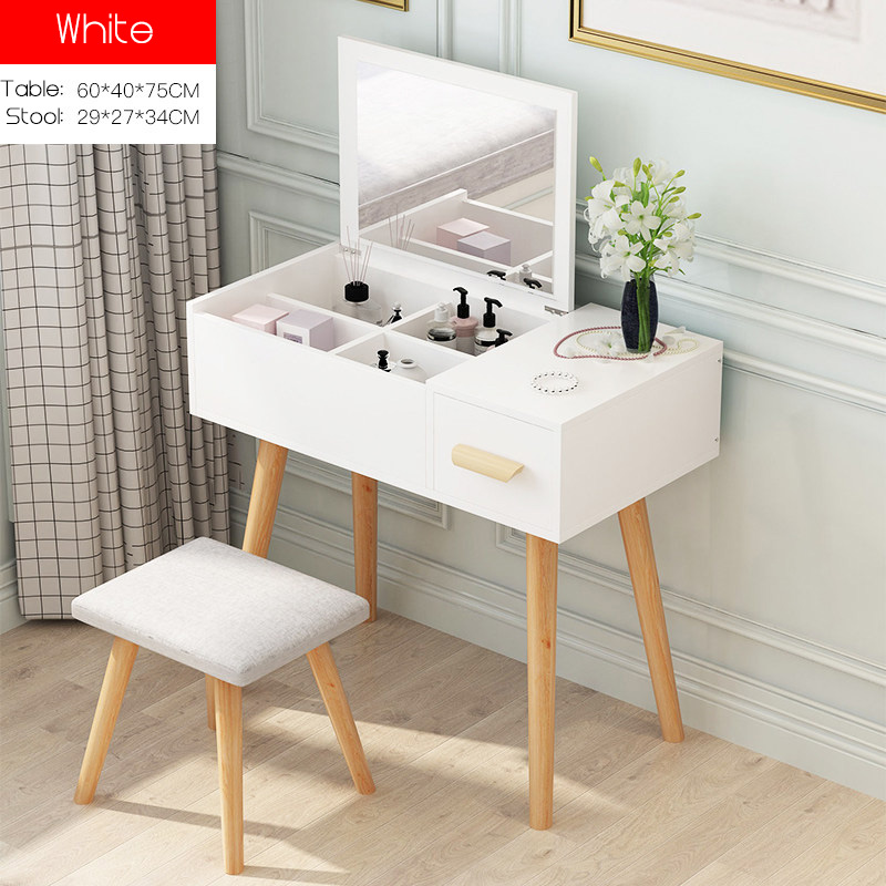 QZXL2 Wooden Dressing Table with stool vanity mirror simple classy modern elegant woman makeup organiser HDB Condo house master bedroom dressing room scratch resistant durable white wood [Free Installation / Delivery]
