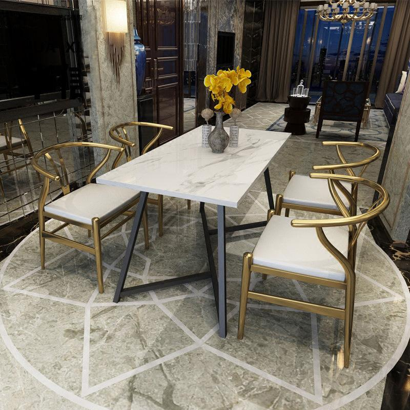 Northern Europe Cafe Golden Marble Dining Tables And Chairs Set HYUNDAI Household Small Apartment Table Designer Furniture