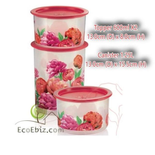 TUPPERWARE Peony Canister / Topper 3in1 Set: 600ml x2 +1.25Lx1 Stackable Airtight