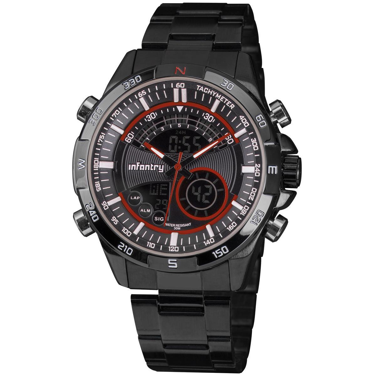 8cec9248bf80 Infantry Men s Digital Dual Wrist Watch Date Stopwatch Black Stainless  Steel Red