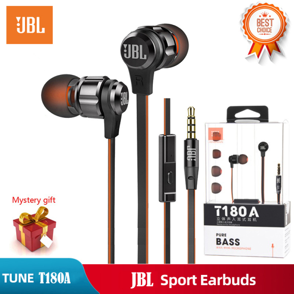 Original JBL T180A 3.5mm Wired Jack In-Ear Earphone Stereo Harman Gaming Headphones Pure Bass Sound Sports Headset Support For ios iPhone and Android Huawei/Xiaomi/oppo/vivo/Samsung Singapore