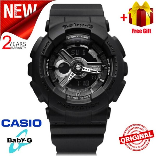 (Ready Stock) Original BABY G BA-110BC-1A Women Sport Watch Duo W/Time 200M Water Resistant Shockproof and Waterproof World Time LED Auto Light Wrist Sports Watches with 2 Year Warranty BA110/BA-110 Malaysia