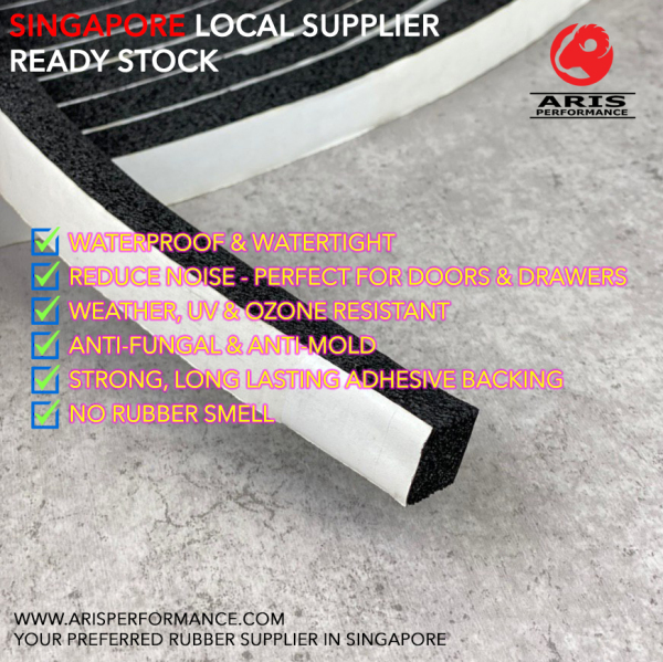 15MM Thick Waterproof Soundproof Sponge Rubber Door Seal Strip with Adhesive Tape, 15 Meter Roll