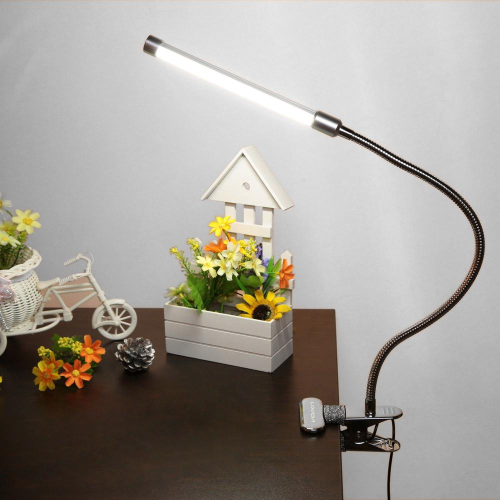 10W Eye Protection Clamp Clip Light Table Desk Reading Lamp 10-level Brightness Adjustable 3 Lighting Colors USB Powered Flexible Portable Dimmable 36 LEDs (EXPORT)
