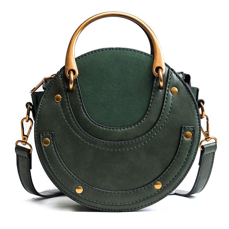 Circular Scrub PU Leather Women Bags Retro Handbag Small Round Women Shoulder Mini Bag(green)