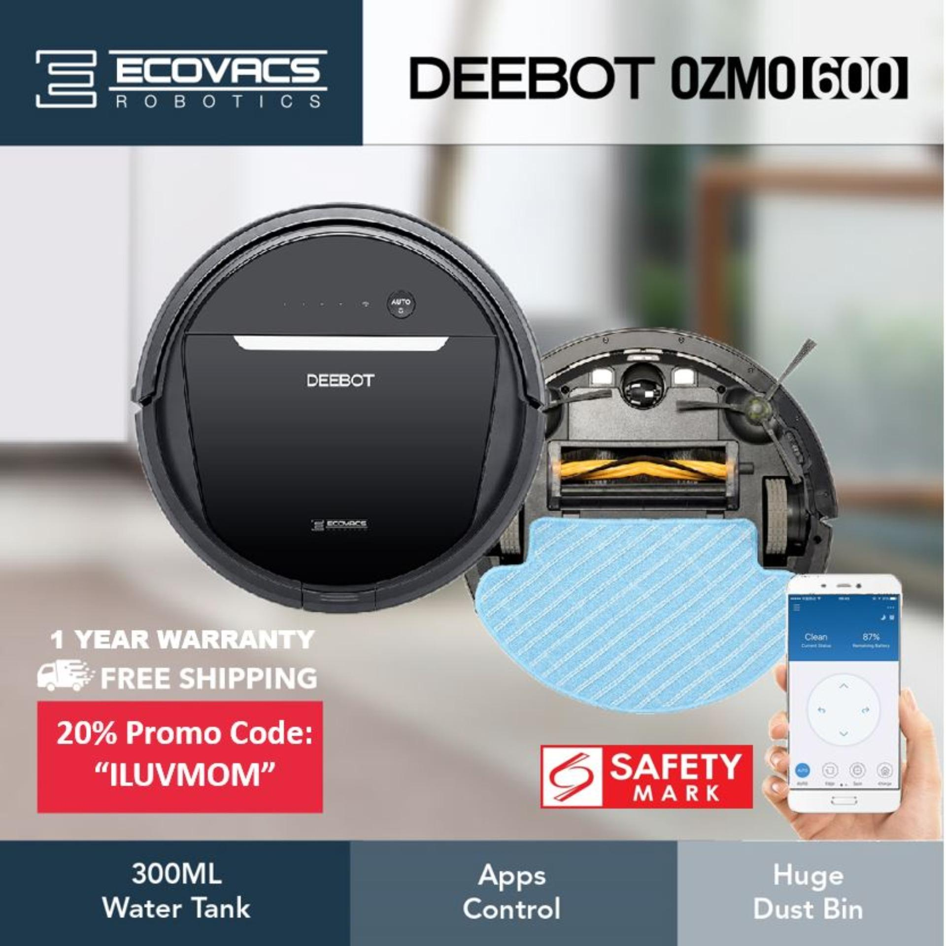 Ecovacs Deebot Ozmo 600 Robot Vacuum Cleaner [with 300ml Water Tank] By Ecovacs Singapore Official Store.