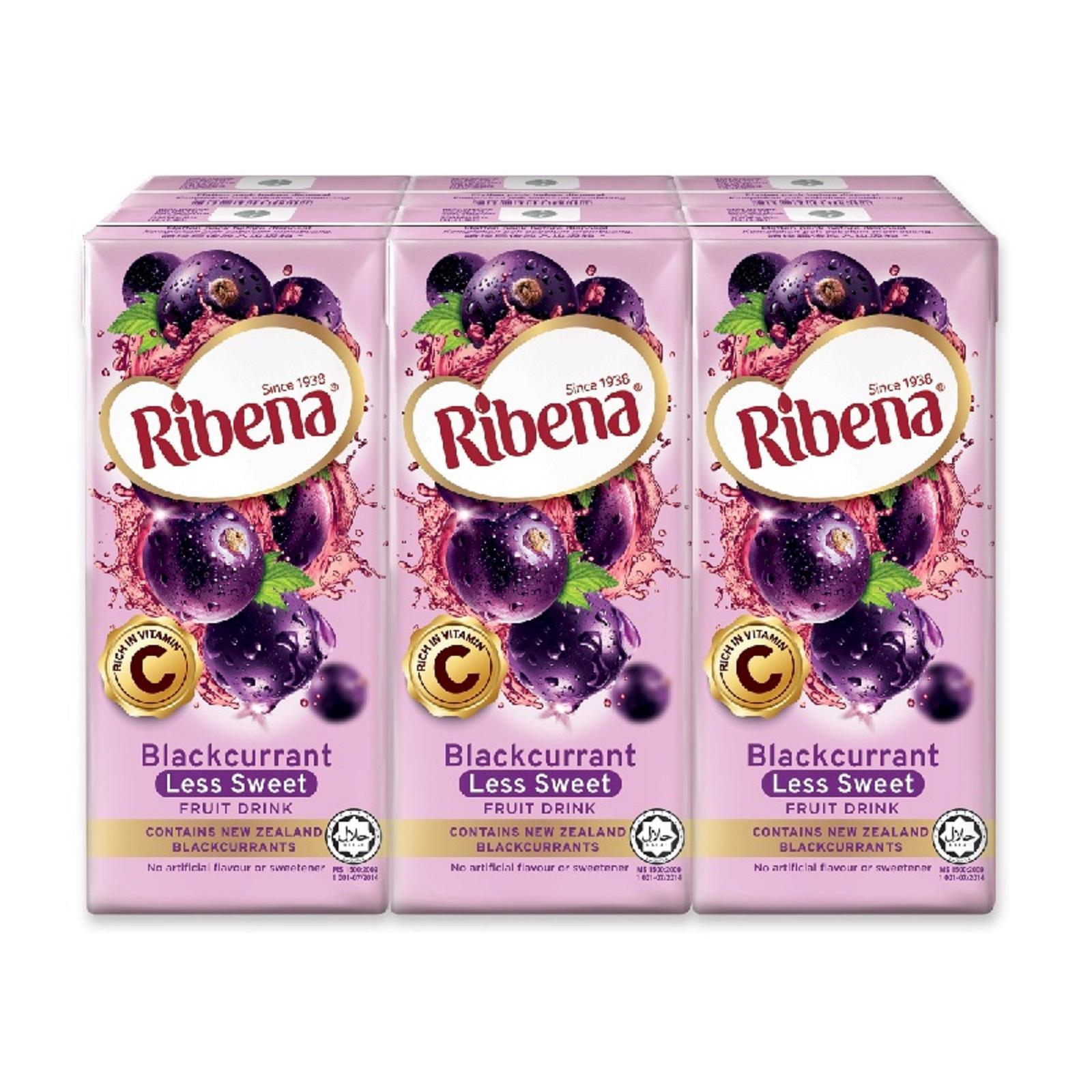 RIBENA Fruit Drink Blackcurrant Less Sweet 200ml x 6s