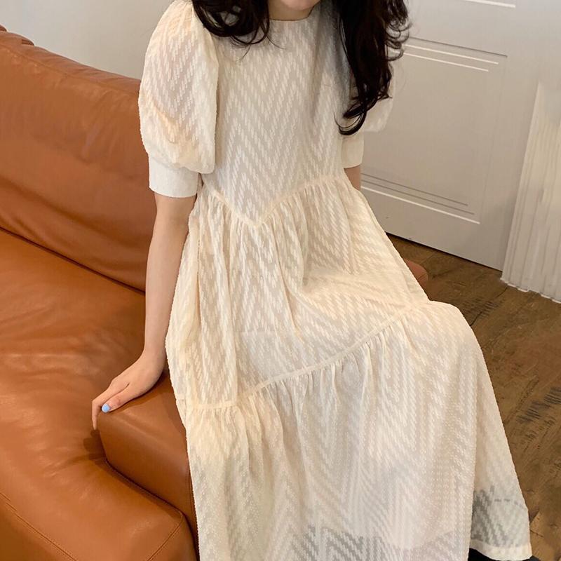 Hàn Quốc Chic Mùa Hè Nhẹ Nhàng Bơ Mai Họa Tiết Cổ Tròn Dáng Suông Rộng Thanh Lịch Swing Tay Bồng Đầm Váy Dài
