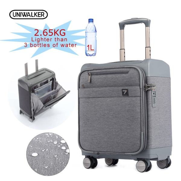Uniwalker Business Suitcase Travel Luggage Cabin Size 16 Inch Trolley Grey Men Women & Student Multi Purpose Luggages TSA Password Lock Draw-bar Box Portable Durable Light Weight (standard Edition)