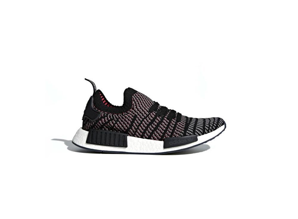 4a1dfe9f7cb5f adidas Originals NMD R1 STLT Primeknit Mens CQ2386 Core Black   Grey    Solar Pink