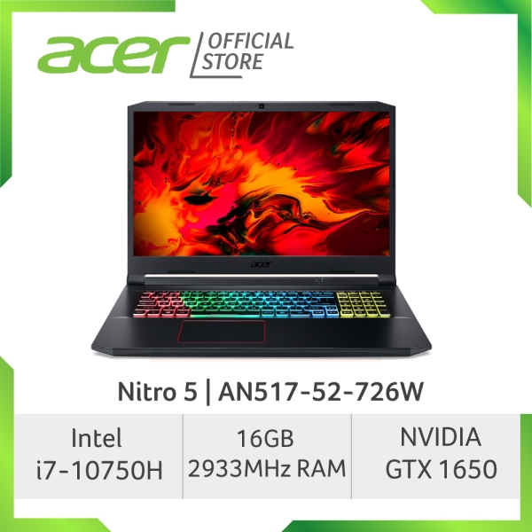 Acer Nitro 5 AN517-52-726W Gaming laptop 144HZ with 10th Gen Intel Core i7-10750H processor and NVIDIA GTX 1650 Graphic