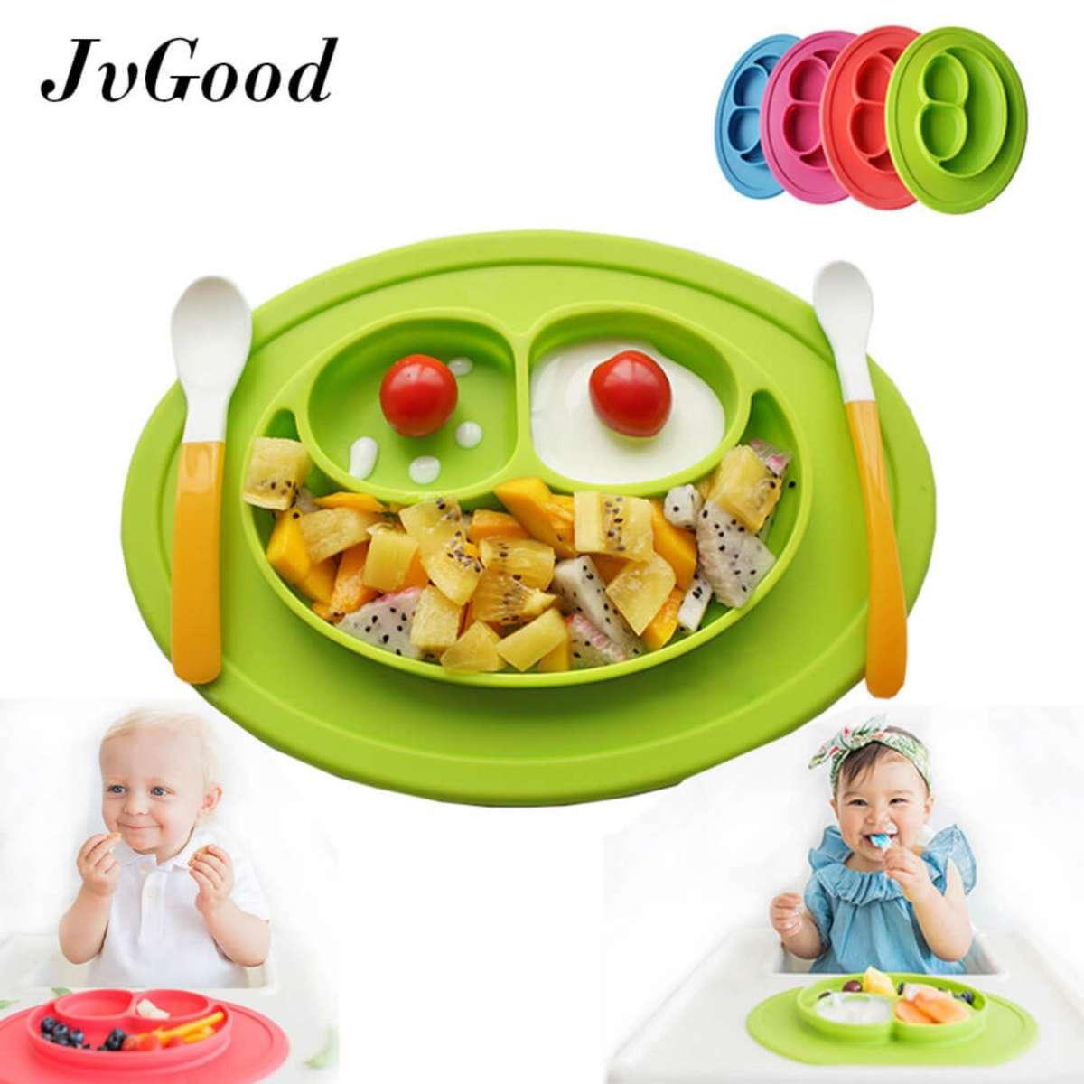 [promotion!] Jvgood Baby Silicone Placemat Plate Tray For Infants Toddlers And Kids Food Mats One Piece Happy Mat Suction Fits To Most Tables Highchair Non Slip Baby Feeding Fda Approved, Blue - Intl By Jvgood.