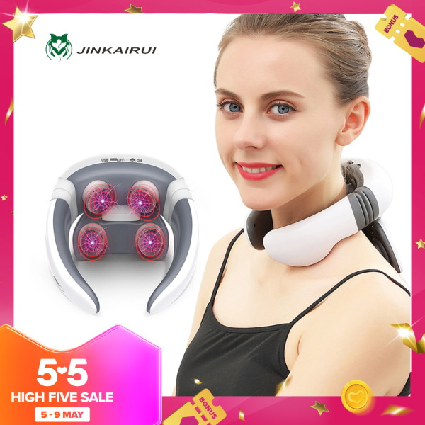 Buy Jinkairui Neck Massager Electric Pulse Back and Cervical Massage Machine Infrared Heating Pain Relief Massage Tool Health Care Singapore