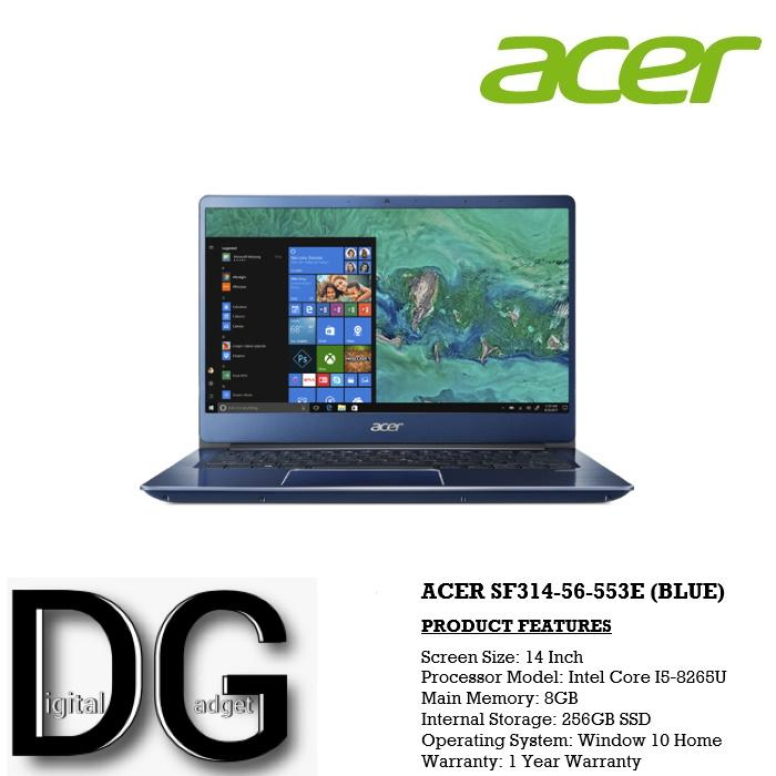 ACER SF314-56-553E (BLUE) 14 IN INTEL CORE I5-8265U 8GB 256GB SSD WIN 10