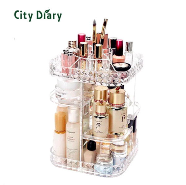 Buy Acrylic 360 degree Extra big thick metrial rotating diamond cosmetic organizer toner Makeup box Transparent Storage Singapore