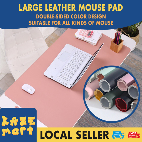 Ready stock 1pcs 90x45cm OR 80x40cm Mouse Pad Large Leather Mouse Pad Office Laptop Mat Computer Desk Cushion Modern Table Game Keyboard Soft Top Quality