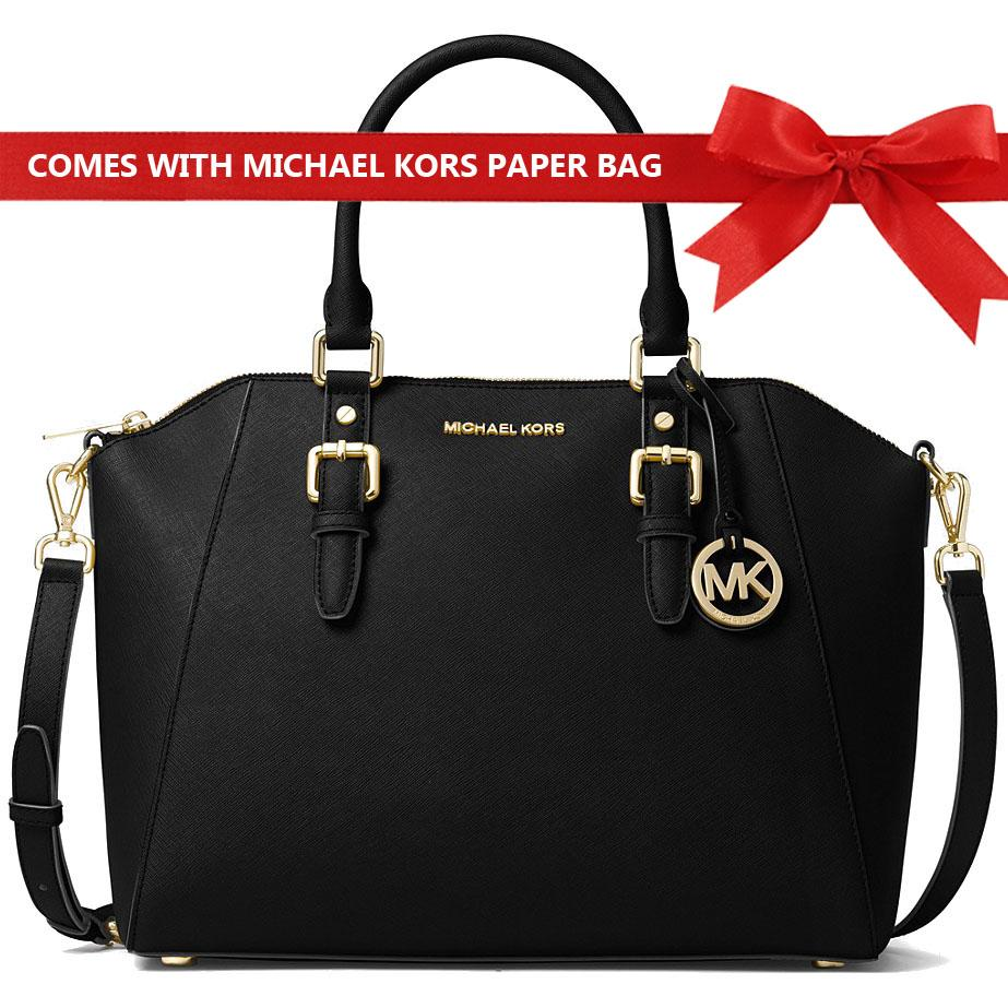 6811d886bdbd Michael Kors Crossbody Bag Ciara Large Top Zip Satchel Handbag Black    35T8GC6S3L + Gift Receipt