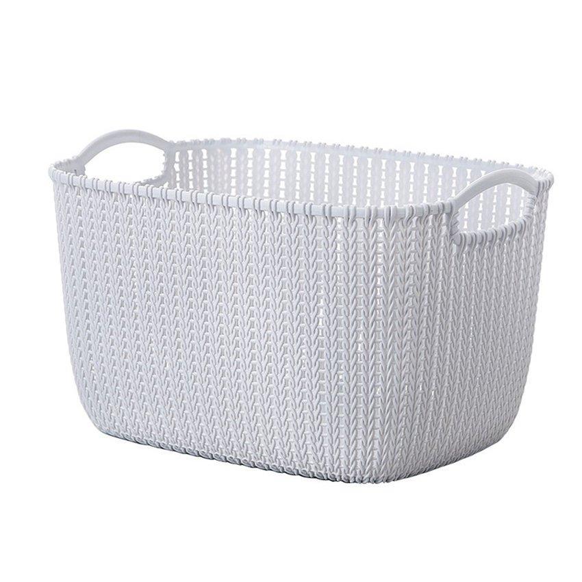 Hot Sale Plastic Weaving Rattan Basket Multifunctional Bathroom Shower Storage Basket Debris Storage Organizer With Handle