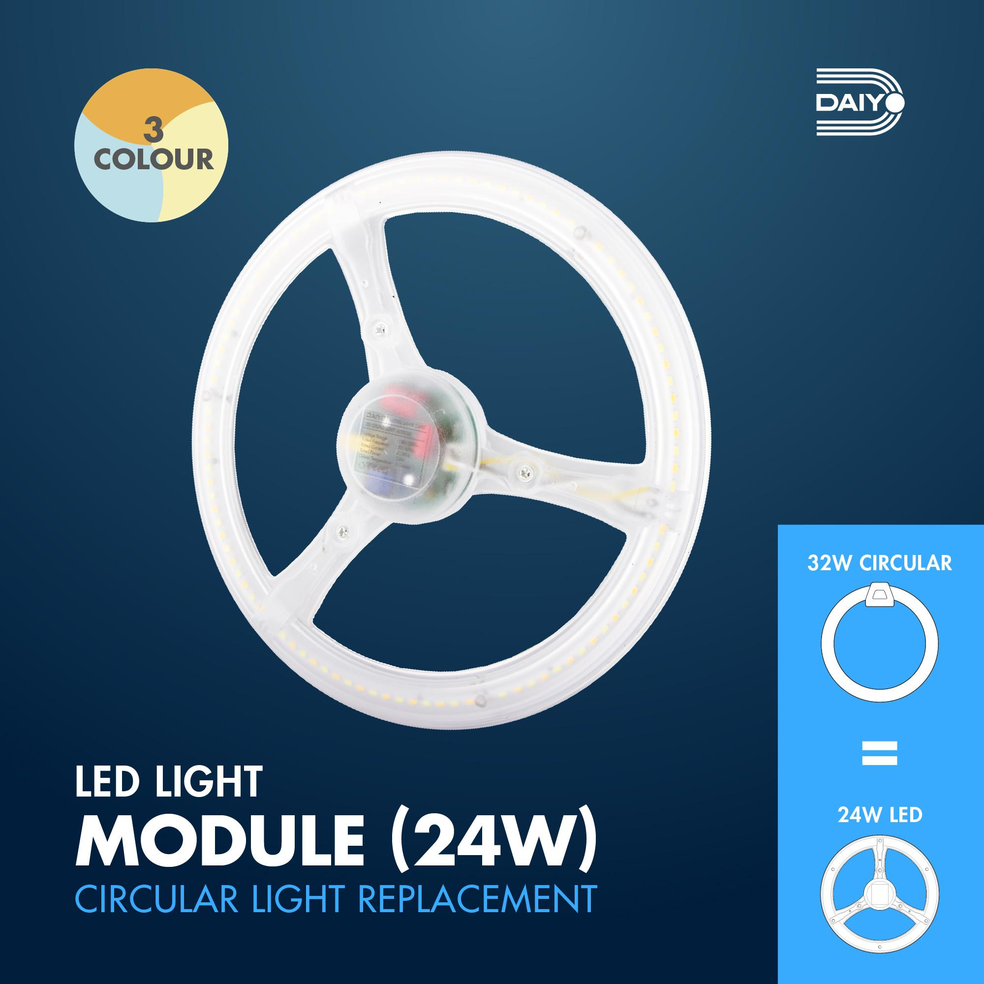 24W LED Circular Replacement Magnetic Base Ceiling Panel (3 Colour)
