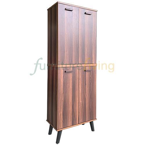 Furniture Living 4 Doors Shoe Cabinet (Walnut)