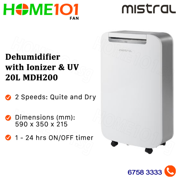 Mistral Dehumidifier with Ionizer and UV 20L MDH200 Singapore