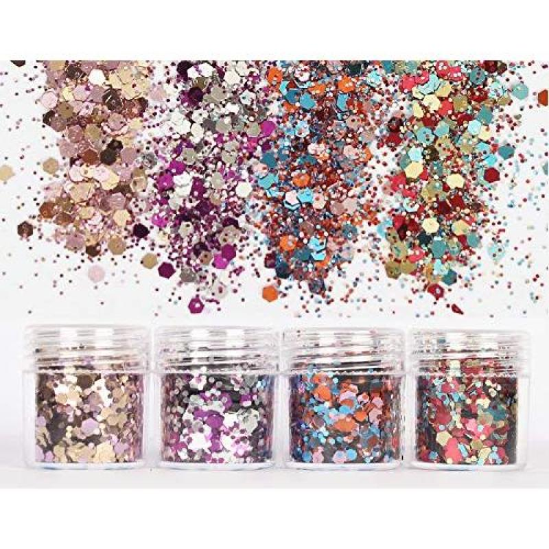 Buy Le Fu Li 16 Colors Body Glitter Sequins Chunky Glitter for Body Face Hair Make Up Nail Art Mixed Color Glitter Singapore