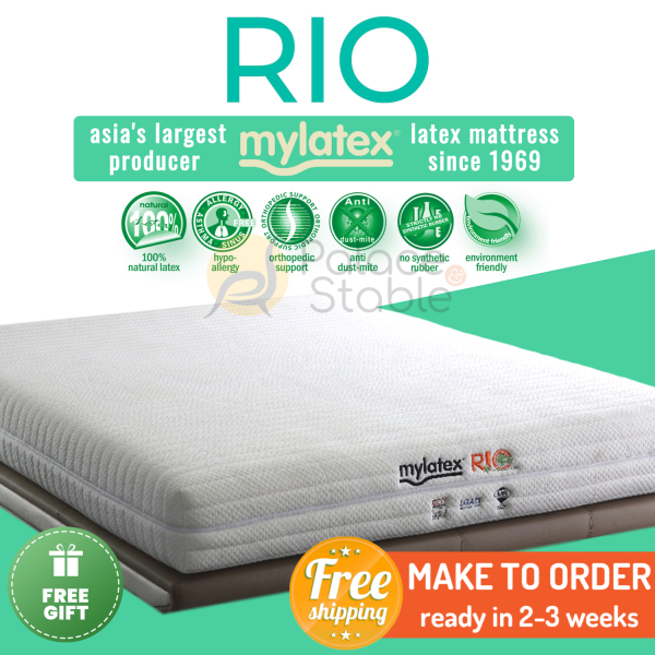 MyLatex RIO (8 or 5 inch), 100% Natural Latex Orthopaedic Mattress, Available Sizes (Queen, King, Single, Super Single)
