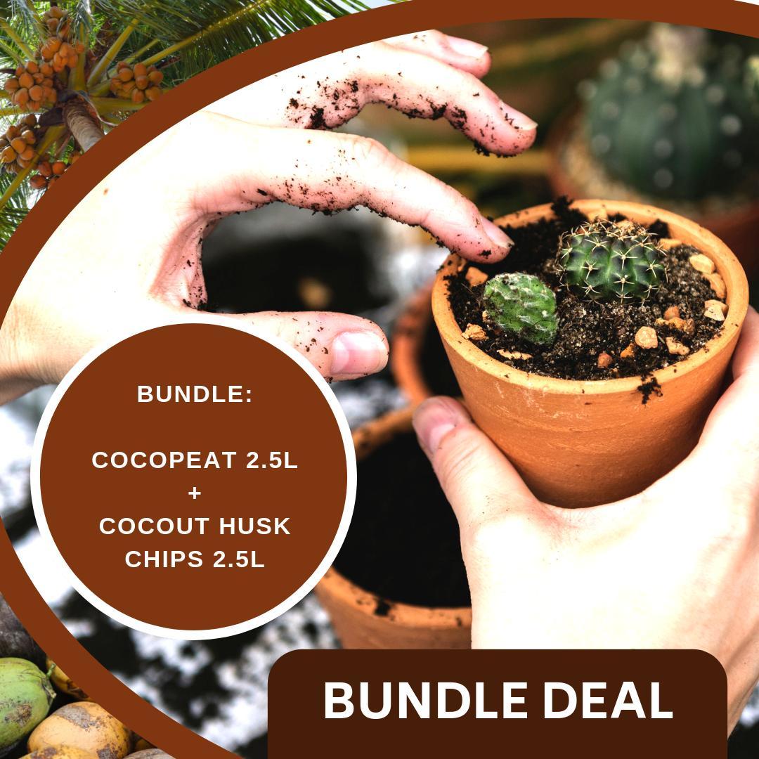 BUNDLE: 2.5L Cocopeat + 2.5L Coconut Husk Chips