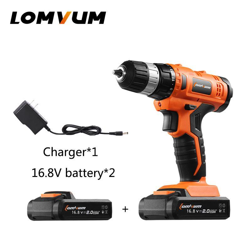 LOMVUM Mini Drill 16.8V Cordless Drill Rechargeable Lithium/ Li-ion Battery Electric Drill Household Woodworking DrIll