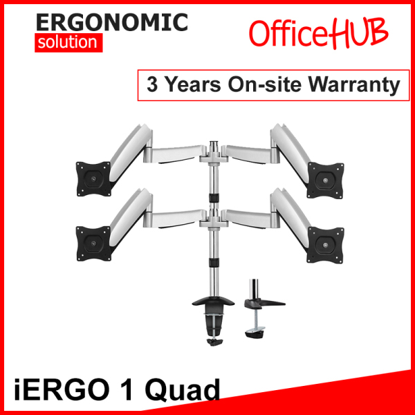 iERGO 1 Qual Monitor Arm ★ Fits Monitor Screens From 15 Inch To 27 Inch ★ Max Weight 9 KG ★ VESA Mount ★ Height Adjustable ★ Clamp/Grommet Mount To Desk ★ Monitor Stand ★ Ergonomic Solution ★ Home Office Monitor ★ Monitor Mount