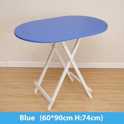 Colorful Oval Folding Portable Foldable Table - Blue 60(W) x 90(L) x 74(H) cm