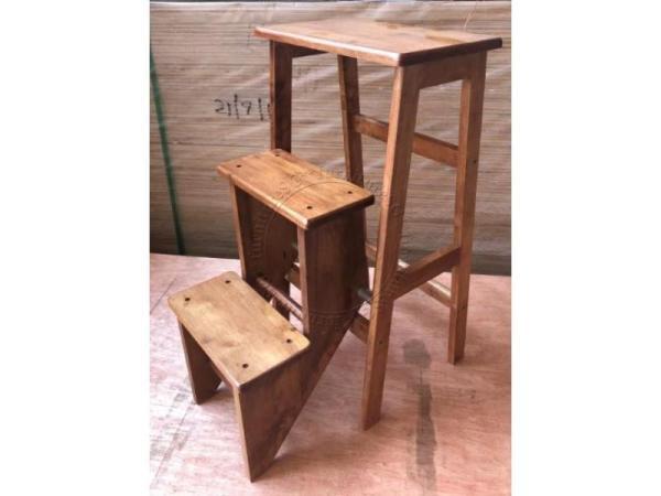 (FurnitureSG) Soild Rubber Wood Step Ladder