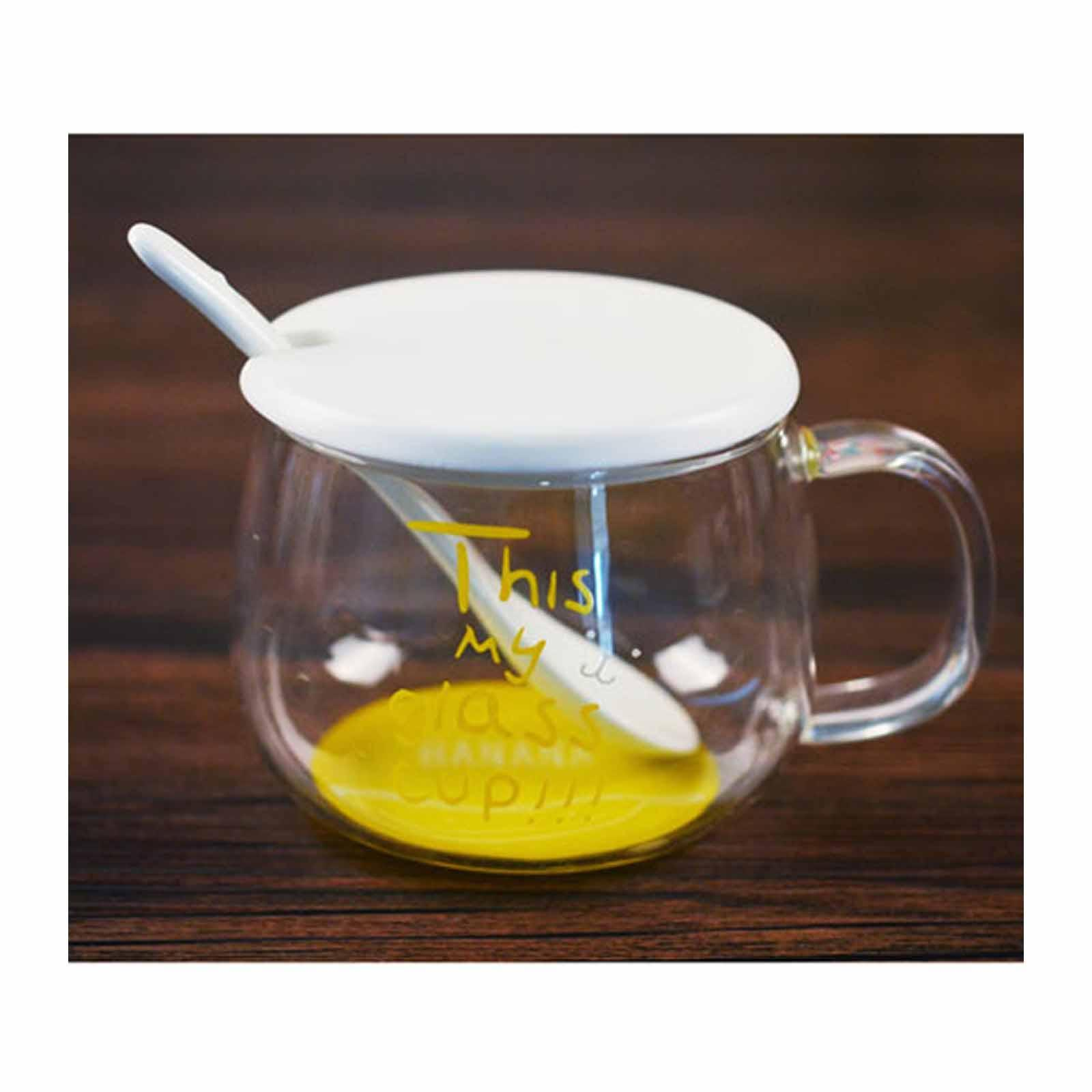 ToTT Glass Cup With Lid And Spoon-360Ml-Banana - By ToTT